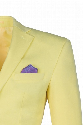 High Quality Peak Lapel Groomsman Slim Fit Daffodil Single Breasted Suit UK_5