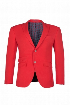 Red Peak Lapel Single Breasted High Quality Wedding Bridesmaid Suits_1