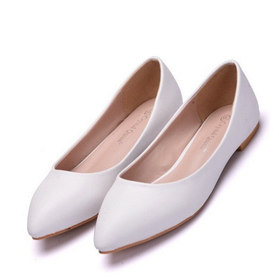 Woman Round Toe PU Flat Wedding Shoes UK_1