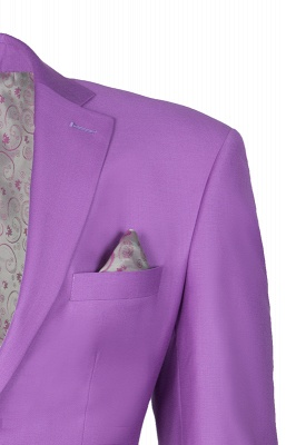 Latest Design High Quality Peak Lapel Single Breasted Two Button Lilac UK Wedding Suits_3