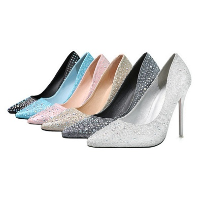 Modern Pionted Toe High Heel Wedding Shoes UK with Beadings_8