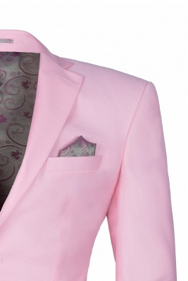 Peak Lapel Candy Pink Single Breasted UK Wedding Suit For Men_3