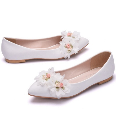 Modern Pionted Toe PU Flat Wedding Shoes UK with Flowers
