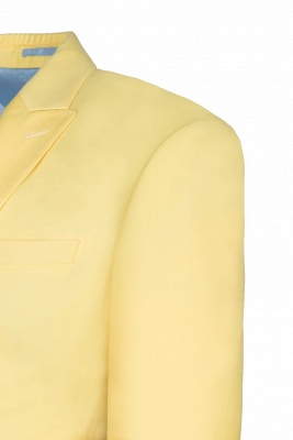 Noched Lapel Two Button Single Breasted Daffodil UK Wedding Suit Slim Fit_4