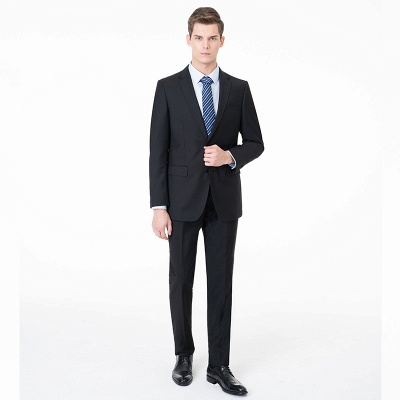 Fashion Single Breasted Two Button Peak Lapel Two Pieces Custom Made Suit UK with Pants_1