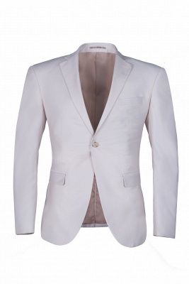 High Quality Customize Casual Suit Groomsman Ivory Peak Lapel Single Breasted UK Wedding Suit_1