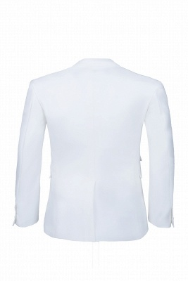 High Quality White Back Vent Two Button Groomsman Peak Lapel Casual Suit_5