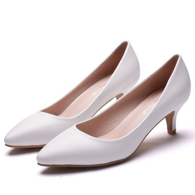 Modern Pionted Toe PU Kitten Heel Wedding Shoes UK
