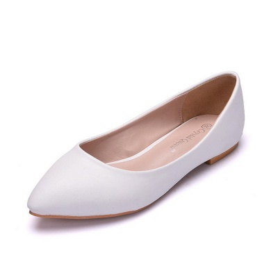 Woman Round Toe PU Flat Wedding Shoes UK_3