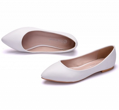 Woman Round Toe PU Flat Wedding Shoes UK_4