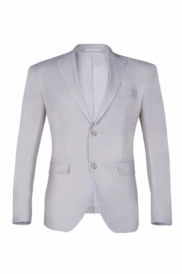 Fashionable Peak Lapel Silver Single Breasted UK Wedding Suit For Men Back Vent_1