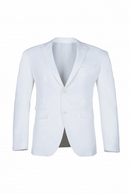 High Quality White Back Vent Two Button Groomsman Peak Lapel Casual Suit_1