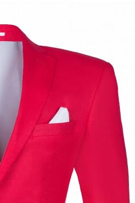 Popular Stylish Design Back Vent Peak Lapel Red Best Men Groomsman Suit UK_5