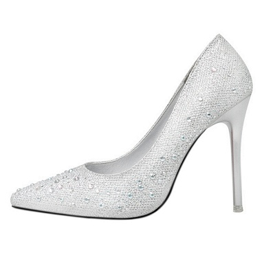 Modern Pionted Toe High Heel Wedding Shoes UK with Beadings_2