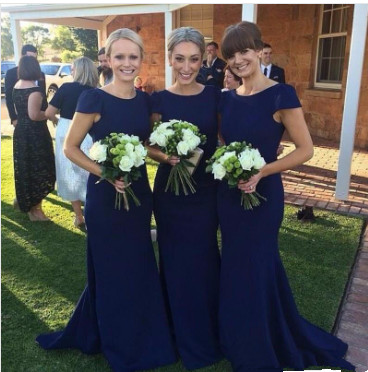 Modest With Sleeves Royal Blue Sexy Trumpt Floor-Length Bridesmaid Dress_1