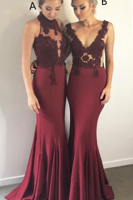 Burgundy Lace Bridesmaid Dresses UK Cheap | Sleeveless Column Spring Maid of Honor Dresses_1