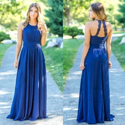 Ocean Blue Halter Chiffon Cheap Bridesmaid Dresses UK | Summer Open Back Floor-length Bridesmaid Dresses UK_3