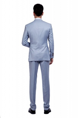 Fashion Light Blue Peaked Lapel Wool Custom Made Suit UK | Three Pockets Single Breasted Wedding British Bestman Suits_3