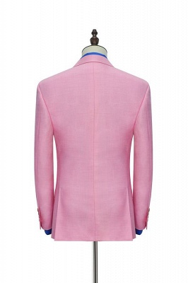 Bright Pink Three Slant Pocket Custom Made Suit UK | Single Breasted One Button Bestman Wedding Tuxedos_6