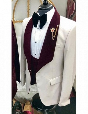 White And Burgundy Wine Burgundy Color Velvet Lapel UK Vested Tuxedo Suit Shawl Collar_1