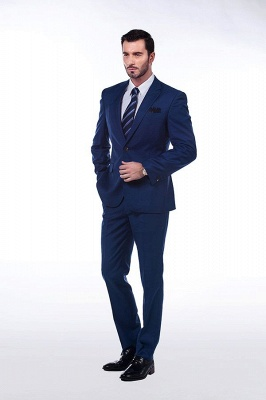 High Quality Blue Peak Lapel Made To Measure Suit | Slim Fit Single Breasted Back Vent UK Wedding Suit_1