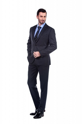 Dark Grey 2 Pockets Slim Bespoke Suits | Casual Notched Lapel Suit Customize Wedding Tuxedos_2