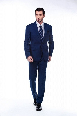 High Quality Blue Peak Lapel Made To Measure Suit | Slim Fit Single Breasted Back Vent UK Wedding Suit_2