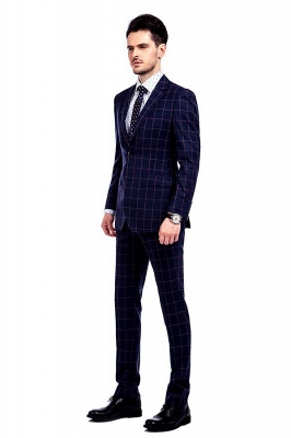 New Arrival Navy Blue Checks Two Button Custom Made Suit UK | Peak Lapel Single Breasted Slim Fit Groomsman Suit_2
