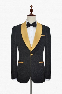 Bespoke Black Champagne Shawl Collar Jacquard Tailor Custom Made Suit UK | Single Breasted One Button UK Wedding Suit For Bestman_3