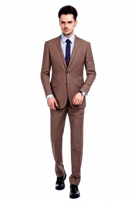 Light Brown Single Breasted Notched Lapel Custom Business Suit | High Quality 3 Pocket Fashion British Men Suit_1