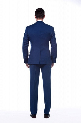 High Quality Blue Peak Lapel Made To Measure Suit | Slim Fit Single Breasted Back Vent UK Wedding Suit_3
