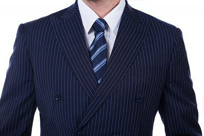 Fashion Double Breasted Navy Blue Made to Measure Suit | Modern Stripe Peak Lapel UK Wedding Suit For Men_4