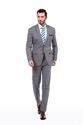 Modern Peak Lapel Grey Checked British Men Suit | 3 Pockets Customize Single Breasted UK Wedding Suit_1