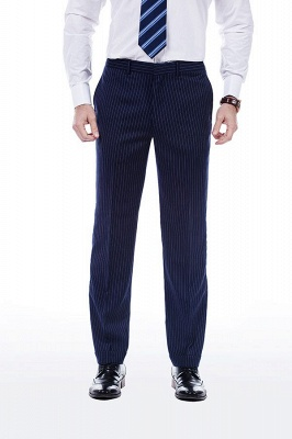 Fashion Double Breasted Navy Blue Made to Measure Suit | Modern Stripe Peak Lapel UK Wedding Suit For Men_7