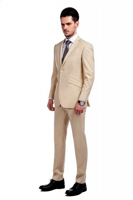 High Quality Bright Khaki Notched Lapel Men Business Suit | Single Breasted 3 Pockets Tailoring Suit_3