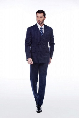 Fashion Double Breasted Navy Blue Made to Measure Suit | Modern Stripe Peak Lapel UK Wedding Suit For Men_1