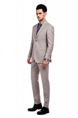 Light Khaki Single Breasted Two Button Custom Suit | High Quality Peaked Lapel Hand Made Wool Suit for Men_2