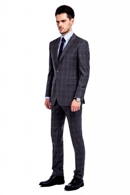 New Trendy Bespoke High Quality Grey Checks Suit for Men | Fashion Peak Lapel 2 Pocket Single Breasted UK Wedding Suit_2