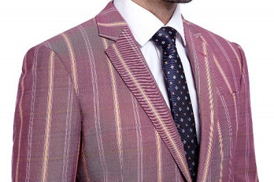 Dark Pink Checks Single Breasted Peaked Lapel Tuxedos | New Arriving Suit Formal Suit for Groomsman_5