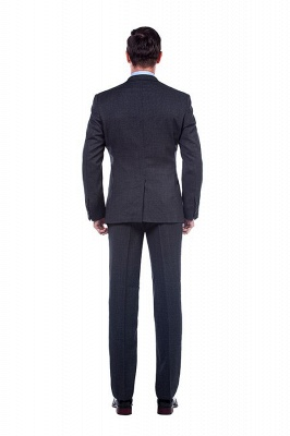 Dark Grey 2 Pockets Slim Bespoke Suits | Casual Notched Lapel Suit Customize Wedding Tuxedos_3