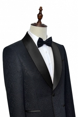 Pure Black Jacquard Shawl Collar One Button Custom Made Suit UK | New Arrival 3 Pockets Single Breasted Slim Fit Groomsman Suit_4