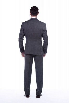 New Dark Grey Windows Slim Fit Custom Suits For Man | Customize Single Breasted Peak Lapel Groomsman_3