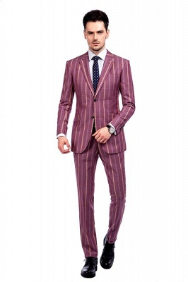 Dark Pink Checks Single Breasted Peaked Lapel Tuxedos | New Arriving Suit Formal Suit for Groomsman_1