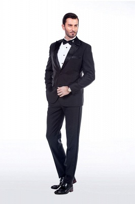 Popular Solid Black Stain Designs Fit Suit | Three Pockets Peaked Lapel Wedding British Bestman Suits_3