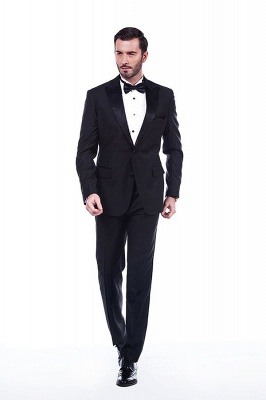 Popular Solid Black Stain Designs Fit Suit | Three Pockets Peaked Lapel Wedding British Bestman Suits_1
