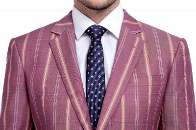 Dark Pink Checks Single Breasted Peaked Lapel Tuxedos | New Arriving Suit Formal Suit for Groomsman_4
