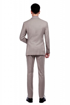 Light Khaki Single Breasted Two Button Custom Suit | High Quality Peaked Lapel Hand Made Wool Suit for Men_3
