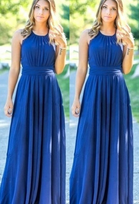 Ocean Blue Halter Chiffon Cheap Bridesmaid Dresses UK | Summer Open Back Floor-length Bridesmaid Dresses UK_1
