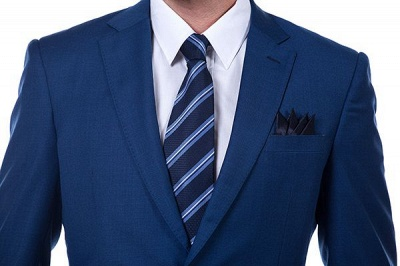 High Quality Blue Peak Lapel Made To Measure Suit | Slim Fit Single Breasted Back Vent UK Wedding Suit_4