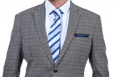 Modern Peak Lapel Grey Checked British Men Suit | 3 Pockets Customize Single Breasted UK Wedding Suit_5